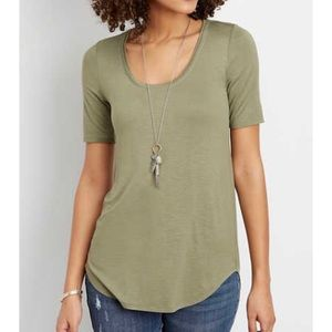 NEW Maurices 24/7 long layering tee olive green